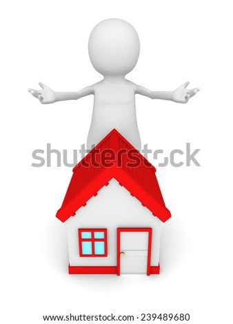 white 3d man with red roof house welcome gesture. real estate concept 3d render illustration - stock photo