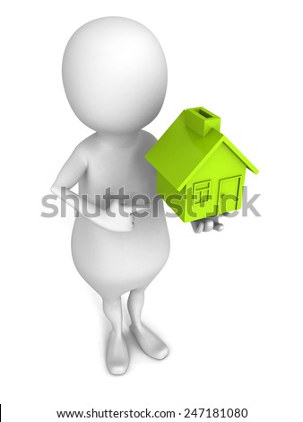 white 3d man with small green house icon. real estate concept 3d render illustration - stock photo