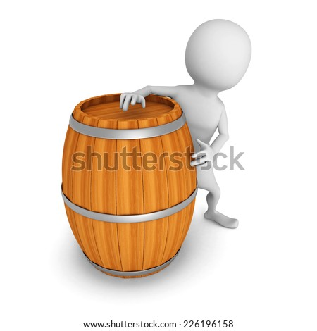 white 3d man with wooden wine barrel. 3d render illustration - stock photo