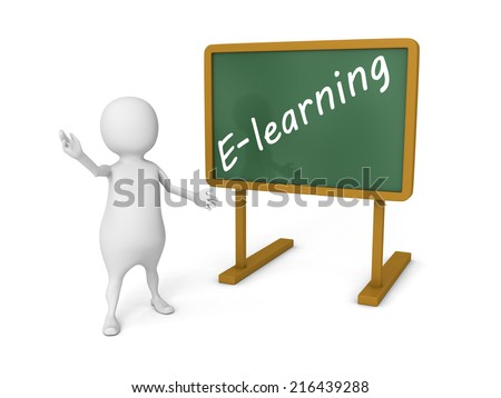 white 3d man wooden blackboard with text - e-learning. 3d render illustration - stock photo