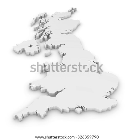 White 3D Outline of the United Kingdom Isolated on White - stock photo