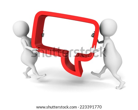 white 3d people carry red speech bubble. 3d render illustration - stock photo