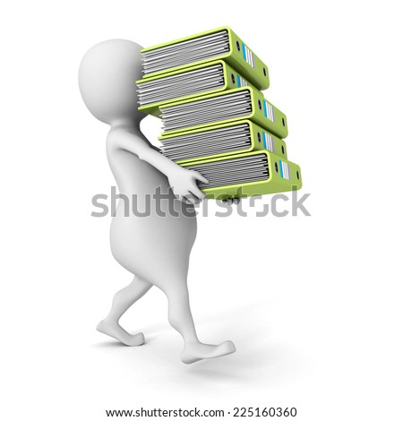 white 3D person carrying  pile of office ring binders. 3d render illustration - stock photo