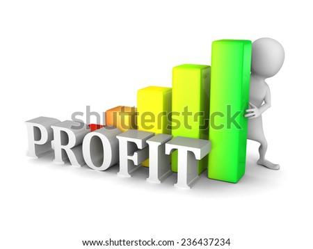 white 3d person with profit success bar chart diagram. 3d render illustration - stock photo