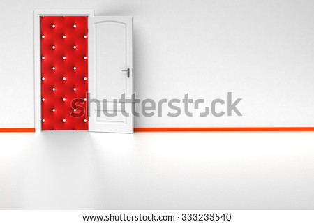 white 3d room with opened door. render - stock photo