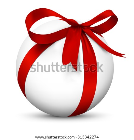 White 3D Sphere with Beautiful Wrapped Red Ribbon Gift Package - Isolated on White Background with Smooth Shadow - Present, Christmas Gift, Surprise, Bow - Graphic Illustration