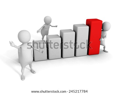 white 3d team with growing bar chart diagram. success business teamwork concept 3d render illustration