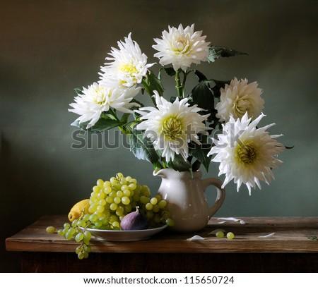 White dahlias - stock photo