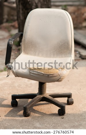 white damage leather chair on white background - stock photo