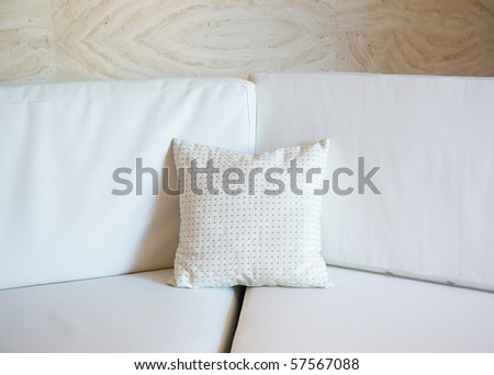 white decorative pillow on a contemporary sofa.