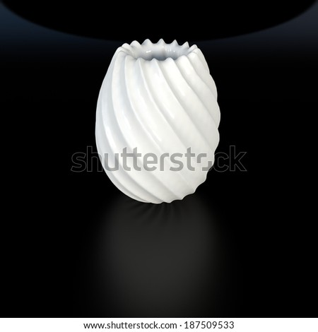 white decorative vase made of fine ceramic in abstract dark space