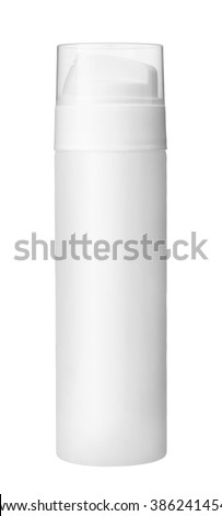 White deodorant / studio photography of white metal container with white actuator - isolated on white background - stock photo