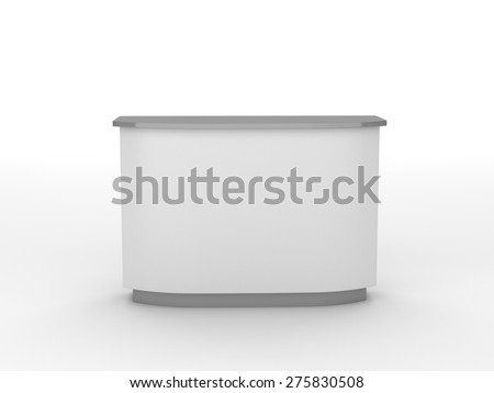 white desk or counter from front view. render - stock photo
