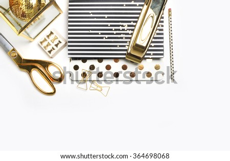 White Desktop. Header website or Hero website, Mockup product view table gold accessories. stationery supplies. glamour style. Gold stapler. . - stock photo