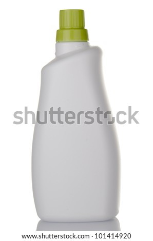 White detergent plastic bottle green cap isolated on white background. - stock photo