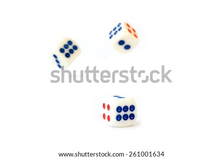 White dice isolated on white background - stock photo