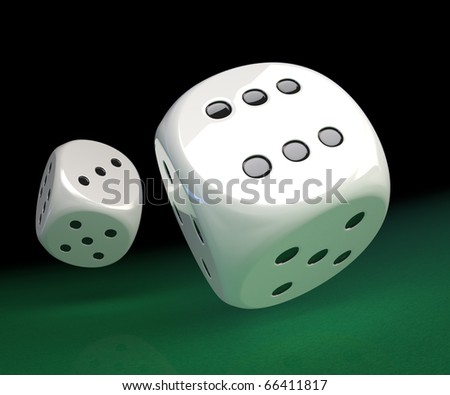 White dice rolling along on green felt.