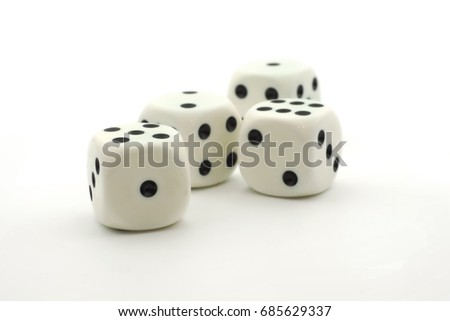 White dices isolated on white background