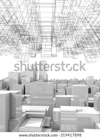White digital cityscape with tall skyscrapers and abstract wire-frame structure in the sky, 3d illustration - stock photo