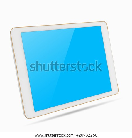 White digital tablet computer with isolated screen with clipping path isolated on white background. - stock photo