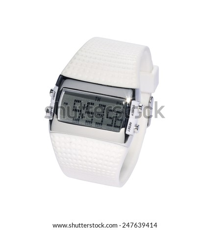 White Digital Watch - stock photo