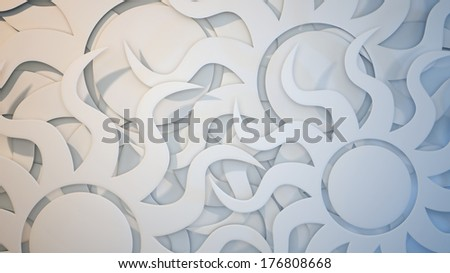 White 3 dimensional sun burst background with gold and blue splashes of color - stock photo
