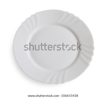 White dining plate isolated on white background - stock photo