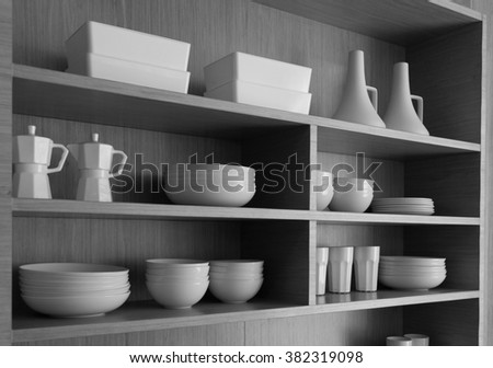 white Dishes & Other Tableware placed on a shelf