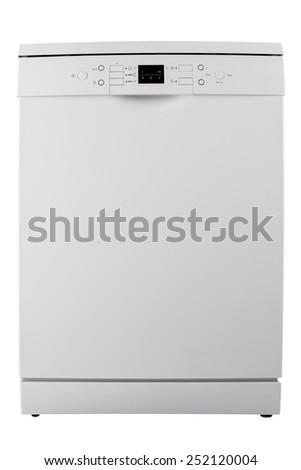 White dishwasher isolated on white background - stock photo