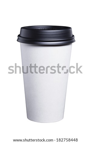 White disposable paper coffee cup with a black plastic lid. - stock photo