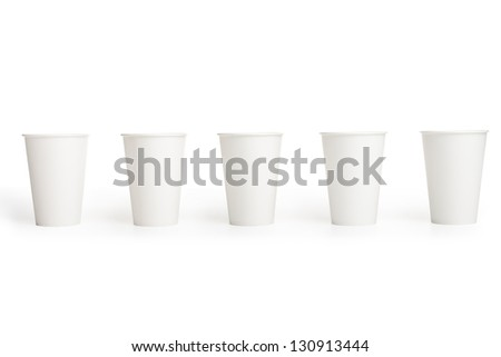 white disposable paper cups isolated on white background