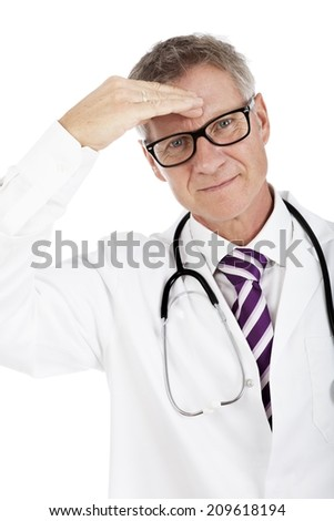 White Doctor having Stethoscope on Shoulders Suffers Headache, Isolated on White - stock photo