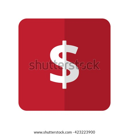 White Dollar flat icon on red rounded square on white