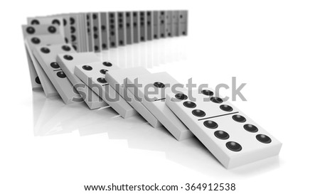 White domino tiles falling in a row, isolated on white - stock photo