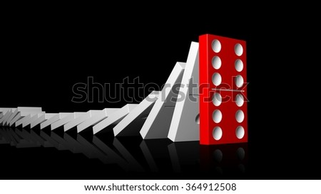 White domino tiles falling in a row on to red last one standing, isolated on black - stock photo