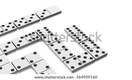 White domino tiles set, isolated on white background