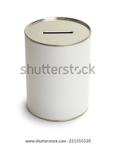 White Donation Can With Copy Space Isolate on White Background. - stock photo