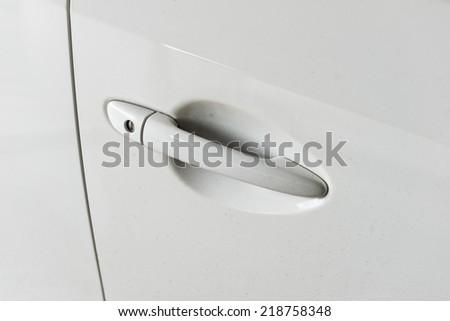 white Door car closeup detail - stock photo