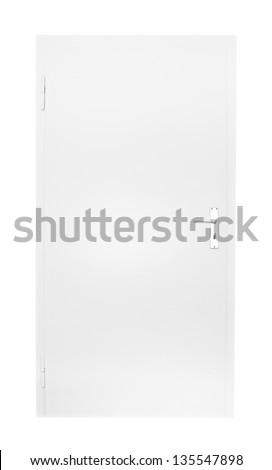 white door isolated on black background - stock photo