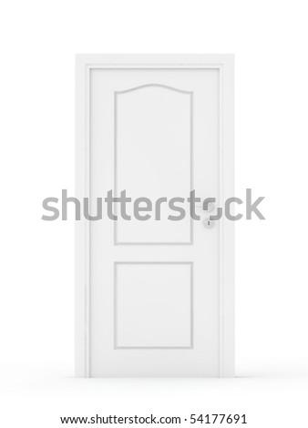 white door isolated on white - stock photo