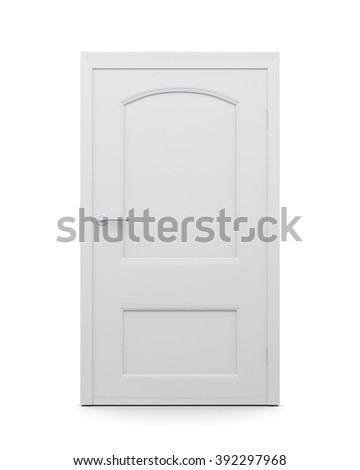 White door on an isolated background. 3d render image. - stock photo