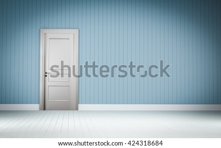 white door on blue wall room 3d rendering
