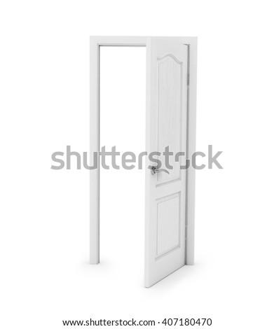 white door on white background. 3D rendering - stock photo