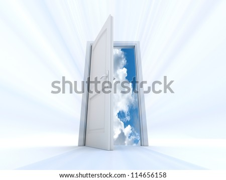 white door that opens to an interior of the sky and clouds with light beams - stock photo