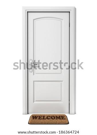 white door with welcome doormat - stock photo
