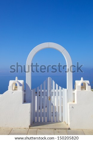 white doors agains blue sky