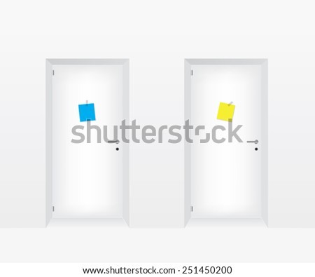 White doors illustration - stock photo