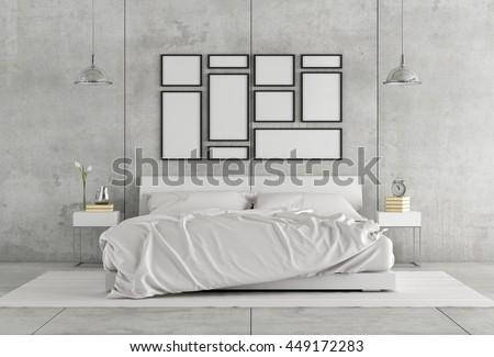 White double bedroom in a concrete interior - 3d rendering