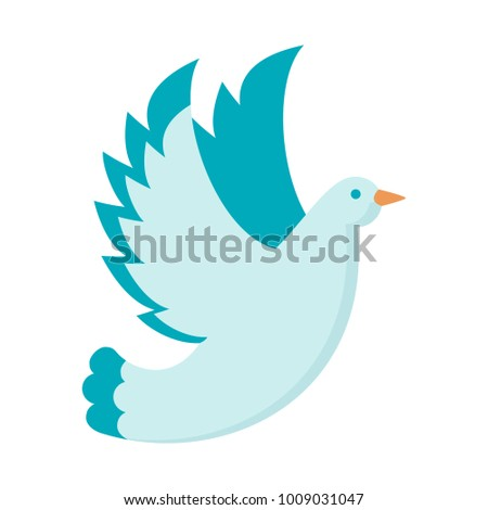 White dove . Symbol of love and happiness, faith and purity. Decoration for invitation cards for wedding and celebrations. Flat cartoon illustration. Objects isolated on white background.
