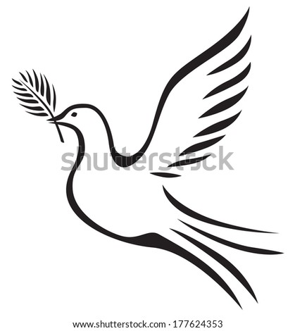 White dove with a palm branch